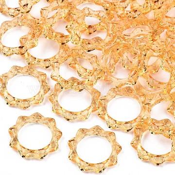Transparent Acrylic Finger Rings, Sun, Orange, US Size 8(18.1mm)(RJEW-T010-04G)