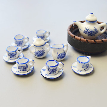 Porcelain Tea Set, Blue, saucer1: 21mm in diameter; teapot1: 29mm long, 32mm wide; teapot2: 22mm long, 23mm wide; teapot3: 15mm long, 18mm wide; teacup: 10mm long, 16.5mm wide(CF472Y)