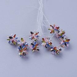 perles de verre tissées, fleur / sparkler, fait de charmes en oeil de cheval, coloré, 13 mm(EGLA-L014-21E)