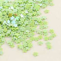 орнамент аксессуары цветок пластиковые бусины блестка, блестки бисер, Нет отверстия, GreenYellow, 3x0.3 mm(X-PVC-Q027-85)
