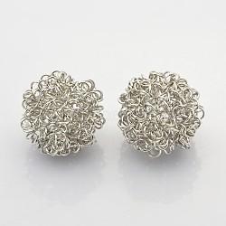 Round Iron Wire Beads, Platinum, 19mm(X-IFIN-N3284-02P)