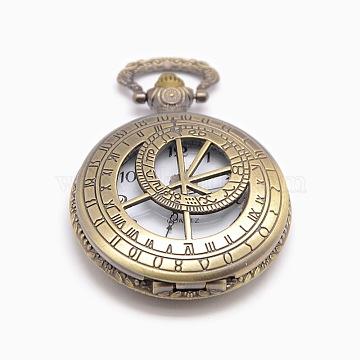 Roman Number Vintage Hollow Flat Round Alloy Quartz Watch Heads Pendants for Pocket Watch Necklace Making, Antique Bronze, 60x46x15mm(WACH-M109-24)