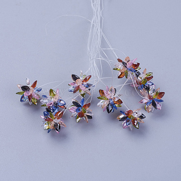 13mm Colorful Flower Glass Beads