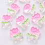 Hot Pink Flower Acrylic Beads(MACR-S374-03A-01)