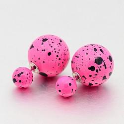 Горячий продавать двусторонний спрей окрашены акриловой мяч уха шпильки, фуксиново-красные, мяч : 8 мм и 16 мм; пин : 0.8 мм(EJEW-O014-M01)