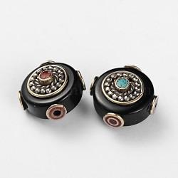 Perles plates en agate de style tibétain rondes, turquoise synthétique et conclusions de laiton d'argent anciennes, noir, 21x13.5mm, Trou: 2mm(TIBEB-F041-16)