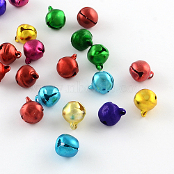 Breloques aluminium cloche, couleur mixte, 7~8x6x5mm, Trou: 1mm(FIND-Q039-01C)