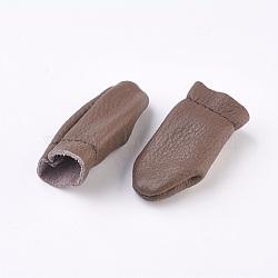 Doigtier en cuir, pour protéger vos doigts, café, 58~60x27~30mm(TOOL-WH0050-01)