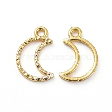 Zinc Alloy Open Back Bezel Pendants, For DIY UV Resin, Epoxy Resin, Pressed Flower Jewelry, Moon, Golden, 15x10x1.5mm, Hole: 1.6mm(X-PALLOY-E577-12G)