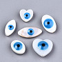 Natural Freshwater Shell Beads, with Enamel, Enamelled Sequins, Mixed Shapes with Evil Eye, Dodger Blue, 8.5~18.5x8.5~15.5x4.5~6mm, Hole: 0.8mm; about 20pcs/bag