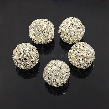 Brass Rhinestone Beads, Grade A, Round, Silver Color Plated, Size: about 20mm in diameter, hole: 2.5mm(X-RSB081-S)
