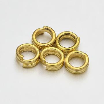 Brass Split Rings, Golden, 4x0.8mm; about 3.2mm inner diameter; about 6755pcs/500g(KK-E647-09G-4mm)
