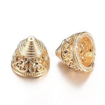 Alloy Bead Cap Rhinestone Settings, Cone, Cadmium Free & Lead Free, Light Gold, Fit for 1.5mm rhinestone; 12x14.5mm, Hole: 0.5mm(PALLOY-S090-37KC-LF)