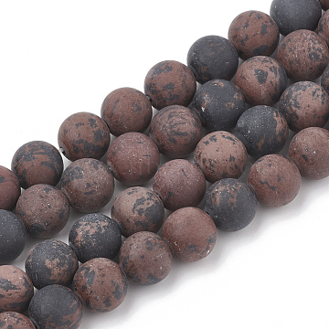 Natural Mahogany Obsidian Beads Strands, Frosted, Round, 12mm, Hole: 1.5mm; about 30pcs/strand, 15.5inches(G-T106-117)
