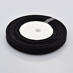Organza Ribbon, Black, about 3/8 inch(10mm) wide, 50yards/roll(45.72m/roll)(X-RS10mmY039)