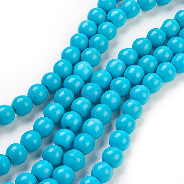 "Synthetic Turquoise Beads Strands, Dyed, Round, DeepSkyBlue, 8mm, Hole: 1mm; about 50pcs/strand, 15.35""(X-TURQ-G106-8mm-02F)"