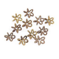 Perles de printemps en laiton, Perles de bobine, sans nickel, fleur, non plaqué, 12x5x1mm(KK-F713-48C-12x5mm)