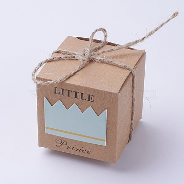 Gift Box, Wedding Decoration, Baby Shower Candy Packaging Box, Cartons Chocolate Wedding Party Gifts For Guests, with Hemp Rope, Sky Blue, 55x55x55mm, hemp rope about 470~528mm(CON-WH0008-01A)