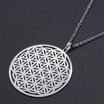 201 Stainless Steel Pendant Necklaces, with Cable Chains and Lobster Claw Clasps, Flower of Life, Stainless Steel Color, 17.71 inches(45cm), 1.5mm(NJEW-S105-JN624-45-1)