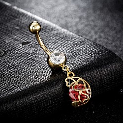 Piercing Jewelry, Brass Cubic Zirconia Navel Ring, Belly Rings, with Use Stainless Steel Findings, Cadmium Free & Lead Free, Real 18K Gold Plated, Red, 40x9mm, Pin: 1.5mm(AJEW-EE0003-03B)