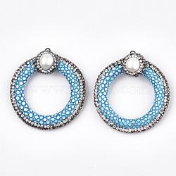 Pendentifs en similicuir, avec argile polymère strass, accessoires de coquille & en fer, peau de serpent imitation, anneau, bleu foncé, 48.5~52.5x45~47x15~17mm, Trou: 1.8mm(X-RB-T006-06A)