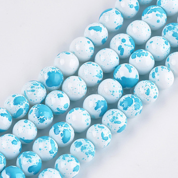 Baking Painted Round Glass Bead Strands, DarkTurquoise, 8mm; Hole: 1.3~1.6mm, about 100pcs/strand, 31.4inches (X-DGLA-S084-8mm-57)