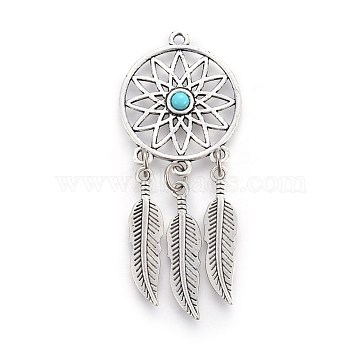 Tibetan Style Alloy Big Pendants, with Resin, Woven Net/Web with Feather, Antique Silver, 64.5x26.5x2.5mm, Hole: 1.5mm(PALLOY-WH0056-03AS-02)