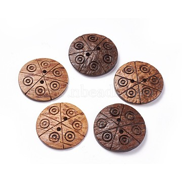 Coconut Buttons, Flat Round, 2-Hole, Coconut Brown, 38~39x3~6mm, Hole: 3mm(X-COCB-G611-05)