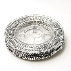 Braided Non-Elastic Beading Cord Wire, Silver, 0.6mm, about 10.93 yards(10m)/roll(X-EW-N001-01)