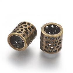 Perles en alliage de style tibétain, Perles avec un grand trou   , sans plomb & sans nickel & sans cadmium , colonne, couleur de bronze antique, longueur d'environ 9 mm , 8 mm de diamètre, 5.5 mm de diamètre intérieur (X-MLF10973Y-NF)