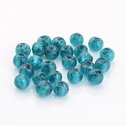 Perles en verre d'argent feuille manuelles, rond, sarcelle, 8mm, Trou: 2mm(X-FOIL-R054-17)