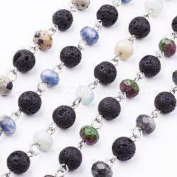 chaînes de perles de pierres précieuses naturelles rondes faites main pour colliers fabrication de bracelets, non soudée, avec perles de lave et épingle à oeil en fer platine, 39.37 (1 m)(AJEW-JB00344)