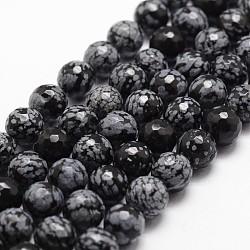 """Chapelets de perles de flocon de neige en obsidienne naturelle, facette, rond, noir, 8mm, trou: 1mm; environ 44 pcs/chapelet, 14.9""""~15.1""""(G-G736-06-8mm)"""