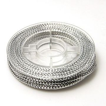 Braided Non Elastic Beading Cord Wire Silver 0 6mm About 10m Roll