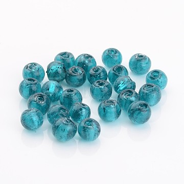 8mm Teal Round Silver Foil Beads