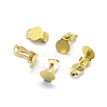 Brass Clip-on Earrings Findings, For Non-pierced Ears, Raw(Unplated), 16x10x7mm; Tray: 10mm(KK-L184-24C)