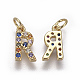 Brass Micro Pave Cubic Zirconia Charms(ZIRC-L070-38R-G)-2