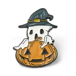Alloy Enamel Brooches, Enamel Pin, for Halloween, with Rubber Clutches, Ghost with Pumpkin, Colorful, Electrophoresis Black, 30.5x22x10.5mm, Pin: 1.2mm.(JEWB-G009-05B)