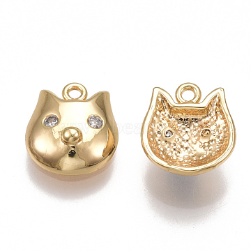 Real Gold Plated Clear Pig Brass+Cubic Zirconia Charms