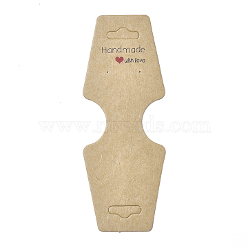 Cardboard Fold Over Paper Display Hanging Cards, Used For Necklace, Earrings and Pendants Accessory Display, BurlyWood, 120x45x0.4mm, Hole: 2mm and 6.5x18mm(X-CDIS-E007-14)