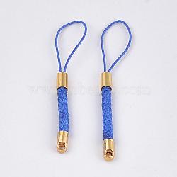 ремни мобильных телефонов для оборванных шармов, поделки сотовый телефон петля плетеный шнур нейлона, с концами шнура золотой латуни, синий, 55~57x4 mm(MOBA-T001-01D)