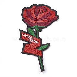 fer à repasser informatisé / coudre des patchs, accessoires de costumes, appliques, fleur avec le mot, DarkRed, 175x86x1.5 mm(AJEW-S069-099)