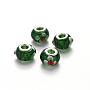 Green Rondelle Lampwork+Brass Core European Beads(LPDL-N001-015-C08)