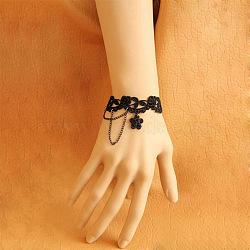 Bracelets de dentelle, avec la chaîne, noir, 130x15mm(BJEW-N0001-138)