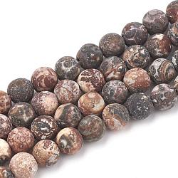perles de jaspe peau de léopard rouge naturel brins, givré, arrondir, 6 mm, trou: 1 mm; environ 63 perle / brin, 15.5(G-T106-106)