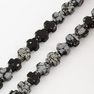 8mm Black Cross Snowflake Obsidian Beads
