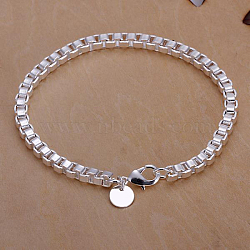Unisex Brass Box Chain Bracelets, with Lobster Clasps, Silver Color Plated, 190x4mm(BJEW-BB12538)