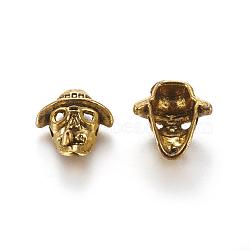 perles en alliage de style tibétain, crane, or antique, 14x13.5x6 mm, trou: 1.8 mm(PALLOY-WH0065-62AG)