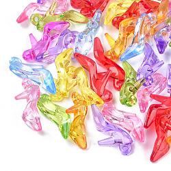 Pendentifs en acrylique transparent , chaussures à talons hauts, couleur mixte, 20x35x11.5mm, Trou: 2.5mm(X-TACR-T005-01)