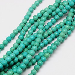 """1 brin lightseagreen teint rond synthétiques perles turquoise brins, 4mm, trou: 1mm; environ 110 pcs/chapelet, 15.6""""(X-TURQ-G106-4mm-02D)"""